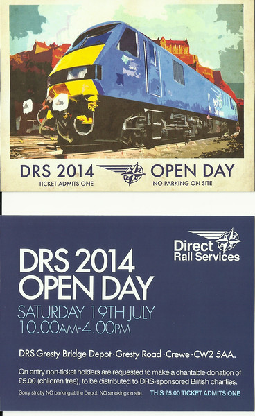 Ticket for the 2014 <br /> <br /> DRS<br /> <br /> Crewe Cresty Bridge Open Day<br /> <br /> to make bigger see below <br /> <br /> New to Smugmug??<br /> <br /> To read the print clearly / make picture bigger : <br /> <br /> Best way to read it if you new to Smugmug<br /> <br /> Put your mouse pointer over pic and double click which blows it up. <br /> <br /> Then in the Bottom RIGHT hand corner there is a RESIZE BUTTON so select size you want. <br /> <br /> To cancel and come back just click the big X in top right hand side