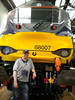 Pic by Liz<br /> <br /> Ghost Station Man stands next to his first 68 <br /> <br /> great looking Locos and very comfy driver seats in cabs