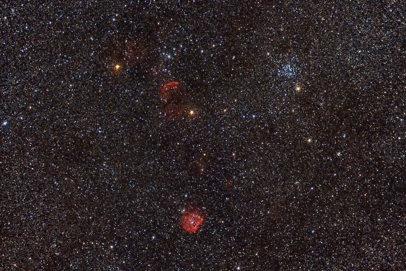 Jellyfish Nebula between the two nice orange stars and the M35 Open Cluster to the upper right.  These are in Gemini.  The bright Monkeyhead Nebula at lower center is in Orion.