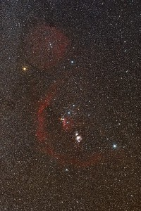 Barnard's Loop in the Orion Constellation.  Lot's of other nebulous areas too.  The Great Orion Nebula is below center.