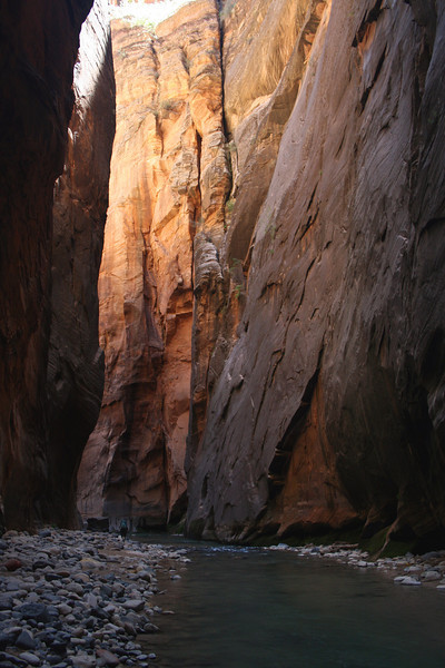 see the little green backpack? view original - that's jayne!  zion narrows, UT