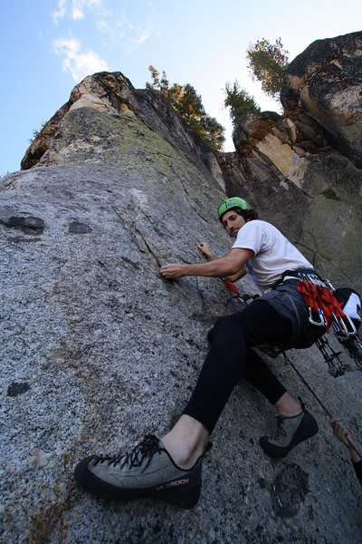 jesse going for the second (and only other) bolt on a un-named 10c.  HUGE footholds everywhere, some were even the size of the edge of a dime!