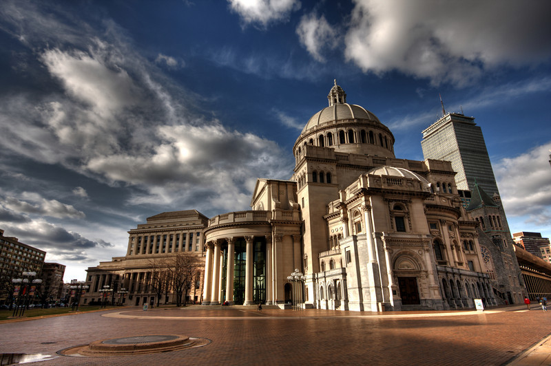 HDR of the Christian Science Center in Boston.  Made with three RAW photos -2,0,+2 EV, Canon 40D with Sigma 10-20mm @f/11