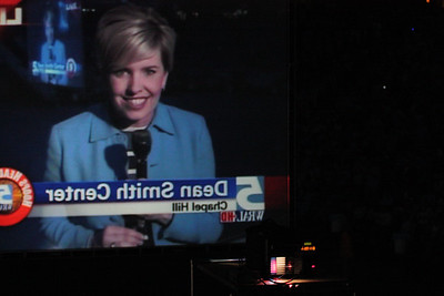 Sloane Hellman of WRAL 5 News speaks live at the Dean Dome. A crowd of thousands gathered at the Dean Dome to watch the NCAA Finals featuring North Carolina against Michigan State University.