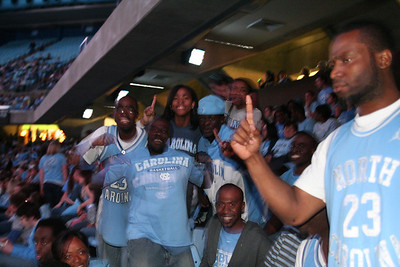 Students and fans gathered in the Dean Dome and cheered as the North Carolina Tar Heels achieved victory against Michigan State on Monday night in NCAA championship.