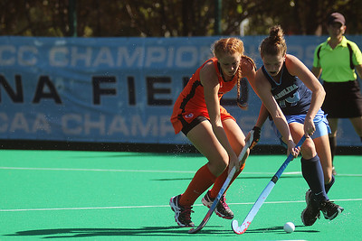 UNC's Lauren Moyer battles for control of the ball against a Pacific Defender. The sophomore recorded three shots on goal Sunday afternoon in the Tar Heels' 7-0 win.