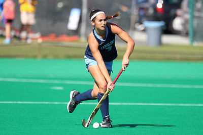 Sophomore midfielder Kristy Bernatchez plays the ball forward from her position along the right sideline.