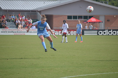 UNC's Joanna Boyles (10) heads the ball in UNC's soccer game against NC State University on Sunday, Sept. 29, 2014 in Raleigh, NC.  The Lady Tar Heels won 2-1 against the Lady Wolfpack.