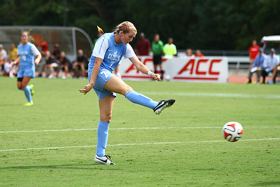 UNC Midfielder Annie Kingman (7) takes a shot during the second half of the match.