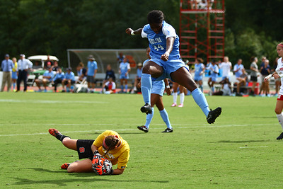 UNC Defender Satara Murray leaps over NCSU Goalkeeper Mackenzie Stelljies (26).