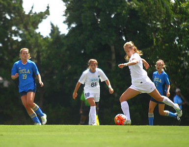 The UNC soccer team defeated UCLA 3-1 on Sunday Sept. 13. Forward Summer Green (6) scores the first goal of the game, one of three shots made for the Tarheels by Green this game. The goal was unassisted, made from the top of the box, and delivered to the lower right of the net.