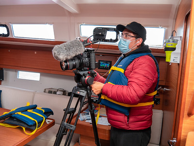Cesar interviewing another MS survivor on their experience. He will start by asking about a brief history of the subject, what their time was like with MS, and how the ubject of the documentary, Zach, has helpped them by teaching them to sail. Photo taken by Chris Grimshaw photo 235