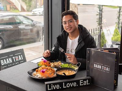 Jackie Sutton, owner of The Baan Thai in San Anselmo, shows off some of the restaurant's most popular items. Photographed by Chris Grimshaw, photo 235