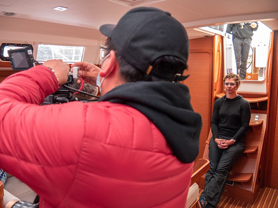 Cesar prepping an interview with Erin about her time fighting MS and how sailing has helped her recovery. Photo taken by Chris Grimshaw photo235