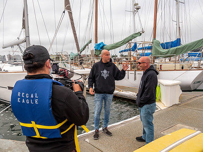 Cesar filming Zach and Thorin, two MS survivors who are teaching others with their condition to sail. Taken in Richmond, CA by Chris Grimshaw photo235