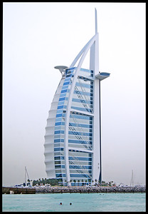 The Burj Al Arab hotel. Not only is this the world's only 7-star hotel, it's the tallest. Warm clean water surrounds it...