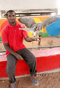 A desert resident with his falcon.