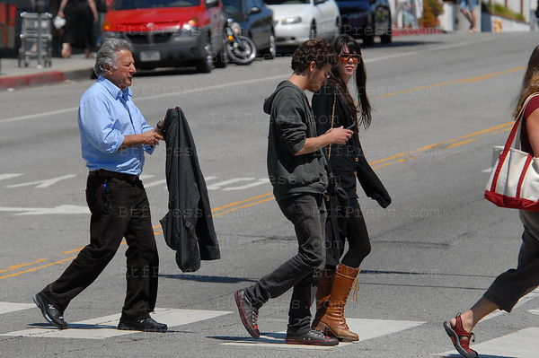 Santa Monica,California, April 05 2009. Dustin Hoffman presents to his son Max and girlfriend with a look like Lily Allen his new Tesla 100% electric car. (Photo by Michel Boutefeu)