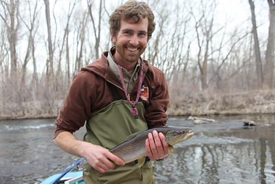 Sam McKay, Northern Region Native Fish Biologist on the lower Weber River in Riverdale. Photo by Phil Douglass