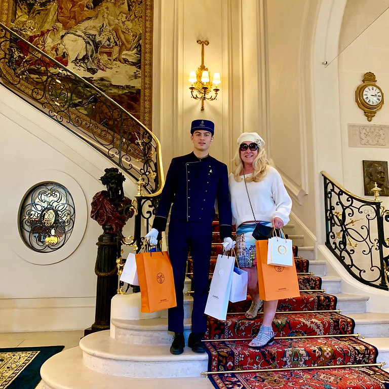 . Sweet bellboy Alex helps me carry my shopping treats up the glamorous Ritz stairways.
