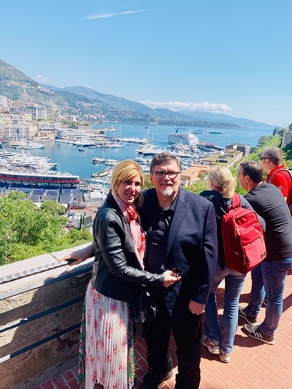 . Host John Thibault and Elaine with a breathtaking view of Monte Carlo