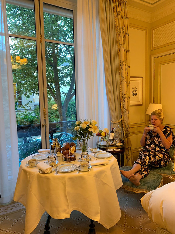 . Enjoying my coffee at the suite at the Ritz Paris
