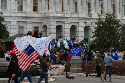 Law enforcement clears demonstrators after breaching the U.S. Capitol building