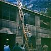 Taking Hose up 35' Ladder, Yosemite National Park, CA, October 1952