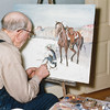 Einar Olstad, TRNMP, Oct 1953: He is painting the picture later given to Dad and Mom