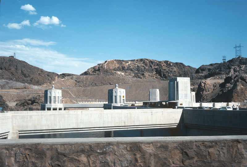 Looking towards intake towers and Arizona from Nevada side of Hoover Dam, 1974.