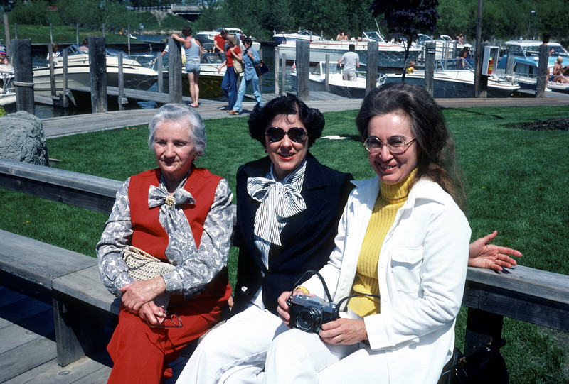 Grandma Komhyr, Flo, and Julia at Lord Fletcher's, Lake Minnetonka, Minnesota, 1978.