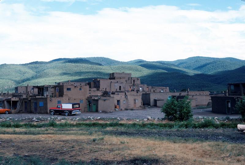 Taos Pueblo, New Mexico, 1978. North Pueblo. Taos Pueblo River separates North from South.
