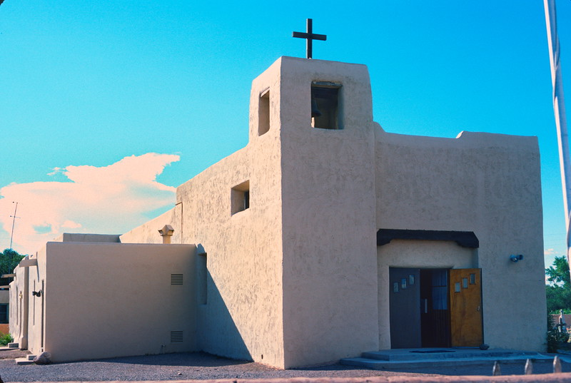 Santa Clara Pueblo Church., New Mexico, 1978. People of the Tewa ethnic group came from the Pajarito Plateu and Page. Known for their highly polished red and black pottery.