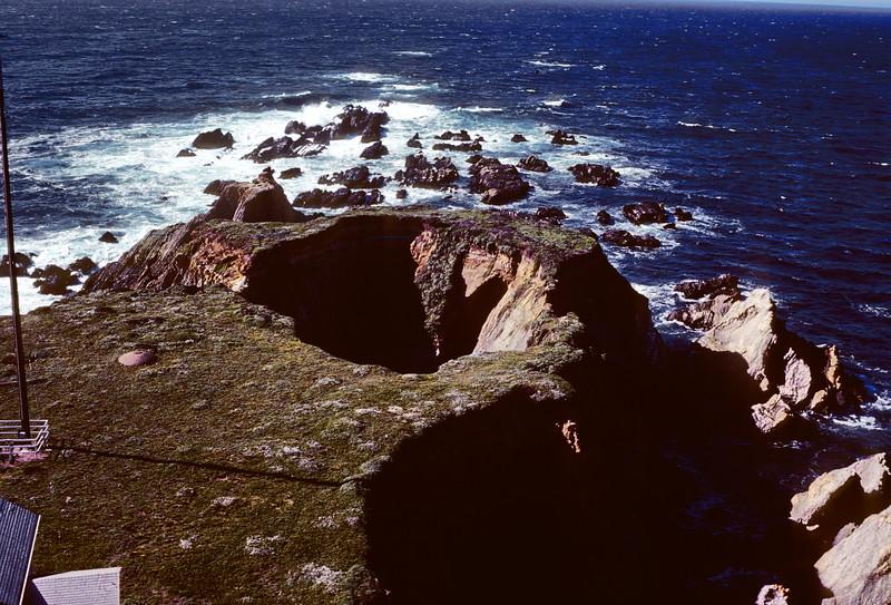 Hole where light fell in 1906 earthquake, Point Arena Lighthouse, 1978.