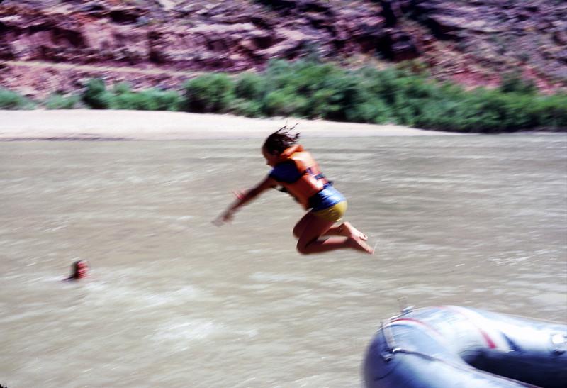 Diving from raft, Colorado River raft trip, 1978.