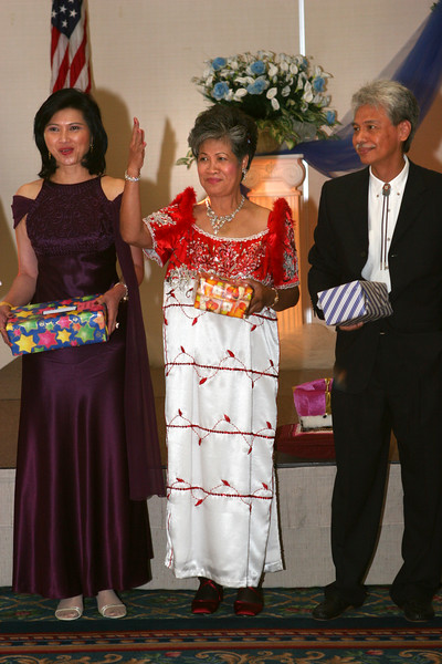 Vida Ceralde-Dominguez '74, Elvie Abalos-Mitchell '61, Dr. Ramon Abalos '70