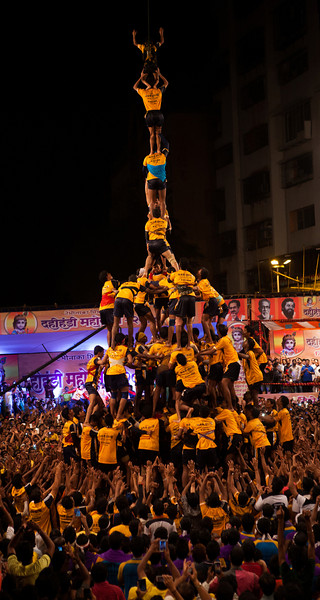 Human pyramid at Dahi Handi, Thane, India