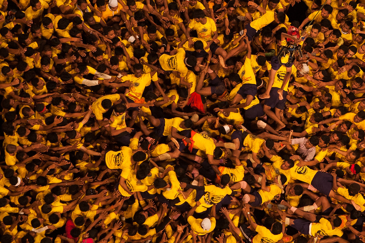 Tumbling down is part of the game at Dahi Handi in Thane, India