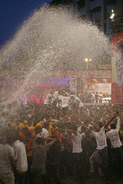 Joy after victory at Dahi Handi in Thane, India