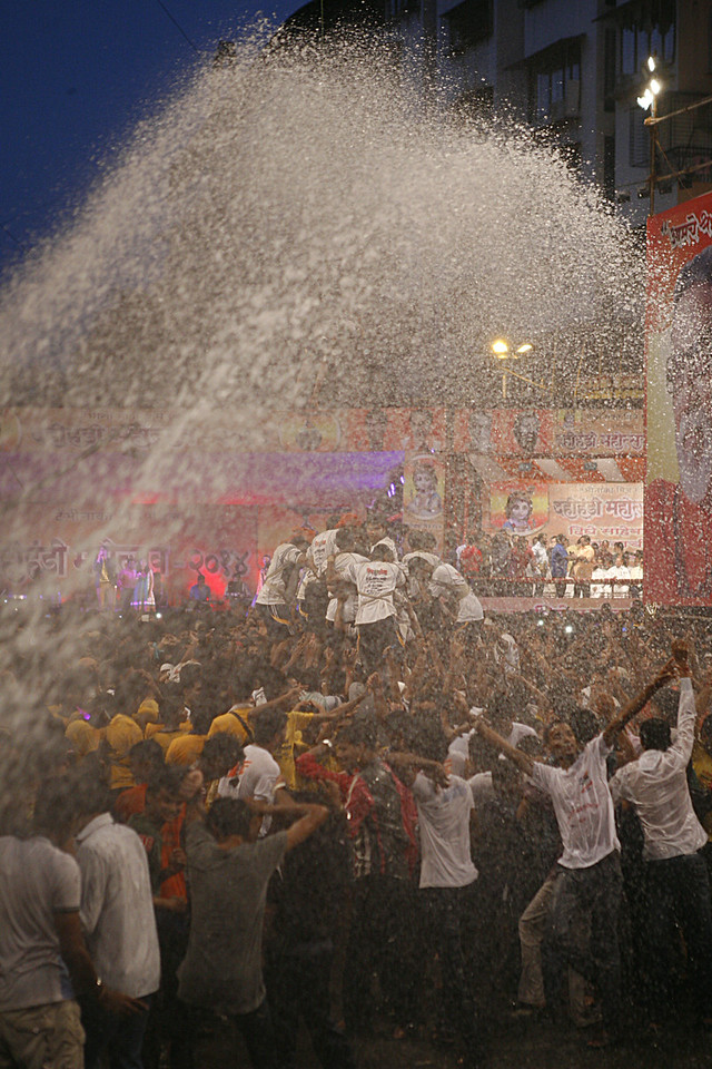 Joy after victory at Dahi Handi in Thane, India