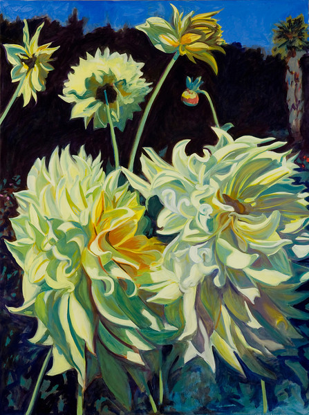 "Yellow Dahlias, 48""x36"", $900"