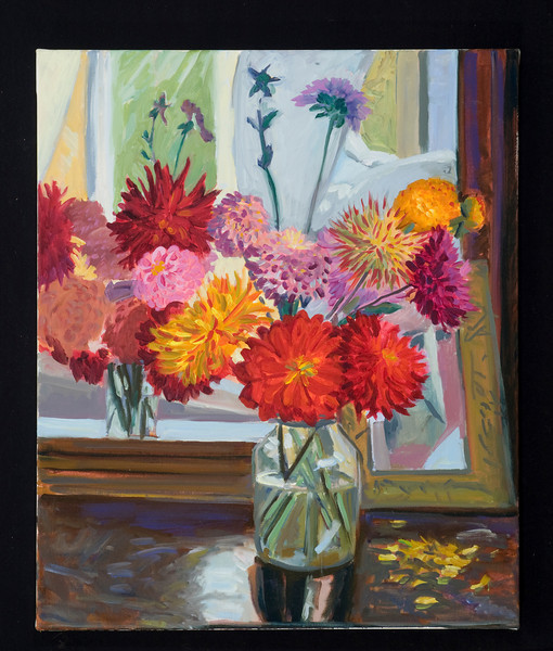 "Dahlias and Mirror, 2011, 20x30"", oil on canvas"