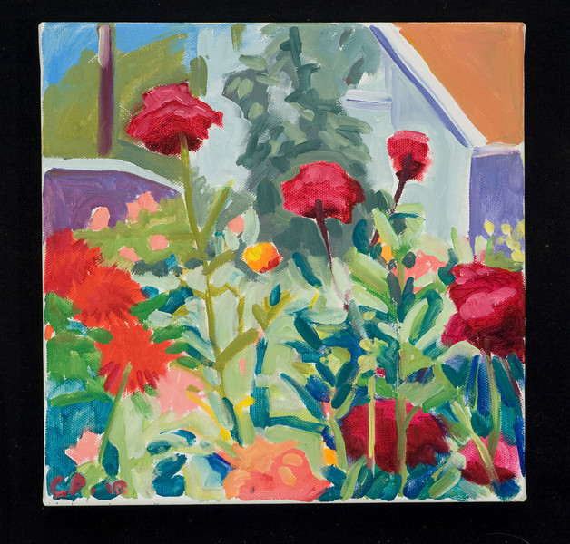 "Dahlia Farm, 10x10"", oil on canvas, 2010"