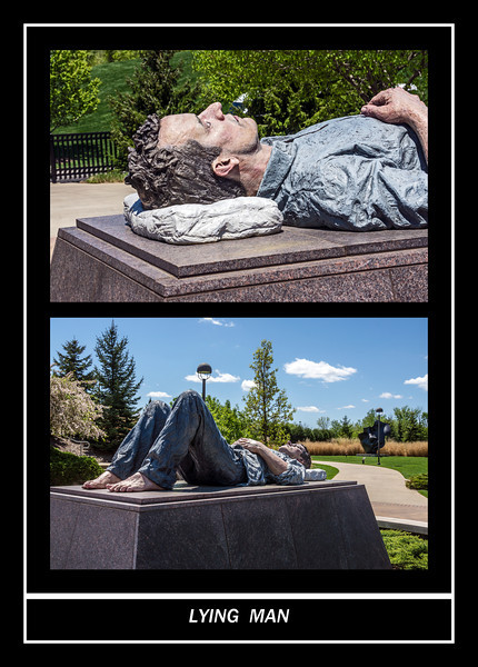 Sculpture (painted bronze) Lying Man by Sean Henry