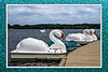 """Swan Lake.<br /> <br /> DP186-2013  Posted July 5; processed ditto<br /> <br /> Paddleboats wait at the dock<br /> As one of their number glides away from the flock.<br /> .<br /> Kent Lake, Kensington Metropark, Michigan<br /> July 2, 2013<br /> (For those interested in such details, the """"frame"""" is actually a background layer, constructed from a close-up I took of the sparkly paint on one of the paddle boats seen in this shot.  I merely applied a cooling filter to try to match the color temperature with that of the central image, resized it to match the aspect ratio of that image (3:2) and to enlarge it enough to surround that shot.  I then pasted the central image, including its black and white border,  into a new layer for this """"frame"""" background.  Because of the way the overall image was constructed, the metadata are for the background, not the central image.  The main difference between the two exposure settings is a 1/800 sec exposure time for the central image.)<br /> <br /> As of Friday evening, July 5, I still have internet connection only a few seconds at a time before Comcast pulls the plug, so to speak.  And I don't automatically get reconnected the way I'm supposed to, so I have to reconnect manually each time.  So leaving comments is proving to be a big challenge.  If I leave just one or two words, please understand, I'm racing against time, trying to beat the next disconnect.  I've loved looking at all you guys wonderful shots yesterday and today.  So much creativity."""