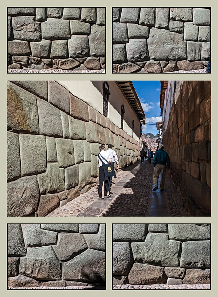"Look and marvel at the skill of the Incas in working stone<br /> <br /> DP011  Posted January 11; created January 10<br /> Four close ups of uniquely shaped stones in the famous Cusco sight, the Wall of the Incas, flank a view of the street along which the wall is found.  It isn't only the shapes of the stones one marvels at, but the exactness of the fit between neighbors.  No mortar is necessary to keep this wall standing through the centuries.  You might also compare the care that was lavished on dressing the stones in this wall with the much smaller effort applied to preparing the stones (though not necessarily to constructing the wall) in the wall in my Jan. 09 post from Machu Picchu.  In fairness, there are walls in buildings at Machu Picchu where great care was taken to dress the stones.<br /> <br /> Taken May 17, 2009.  Edited January 10, 2014.<br /> Full resolution versions of each frame are in my Cusco gallery (which is, at this moment, very incomplete), here:  <a href=""http://arctangent.smugmug.com/Travel-International/Peru/Cusco/35923043_B5XTbD"">http://arctangent.smugmug.com/Travel-International/Peru/Cusco/35923043_B5XTbD</a>"