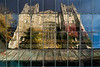 Featured:  Window reflection of the east end of the Law Library