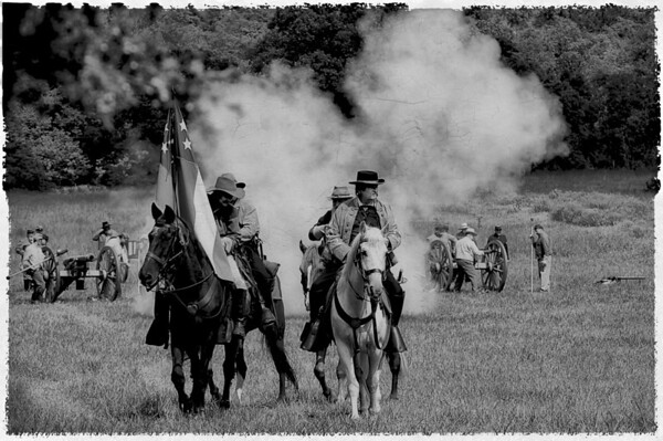 222 Sep 11/11 Civil War Reenactment at Luray.  Although I loved the colors in the original shot, I thought B&W was also interesting, with a little texture added.<br /> <br /> Thanks for all the comments on the Luray caverns shot.  Looking through all the shots I took, I agree that with the limited light it was very challenging to get a good clear shot.  The photos I took with the DSLR are hit and miss.  Yesterday's shot was taken with a Panasonic DMC-LX5 without flash using the Intelligent Auto setting.  I'm very impressed with this little camera as most of the shots taken with it are very sharp and clear.