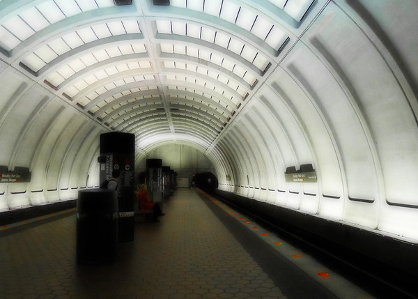 226 Sep 16/11 Alone<br /> <br /> Nothing share worthy came out of my camera yesterday, so this is a photo I took on vacation of the metro station in DC.  I've applied the Orton process to it and am thinking of entering this in the Dgrin challenge.