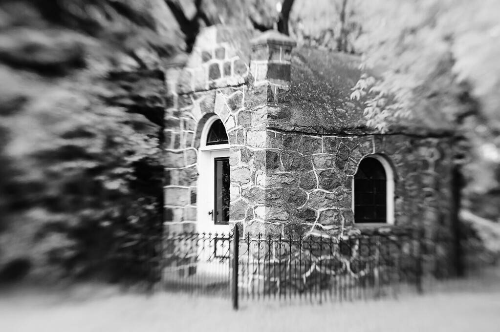 "148 Jun 5/11 Siracky Chapel <br /> <br /> The Siracky Chapel was built in 1940.  The chapel, constructed in traditional European style is known as the ""Church of the Weary Traveler"" or ""Church of the Road"".  It is a walk-in chapel, about eight feet wide by twelve feet long with a round domed ceiling.  The chapel was consecrated in 1940.  On August 5, 1990 the chapel was rededicated to the 100th anniversary of Ukrainian settlers in Canada with the ceremony being officiated by the Basilian Fathers.<br /> <br /> Color and other versions can be seen here <a href=""http://www.wildelifephotography.com/Places/Churches/10557450_3SV6S#1322371542_f5mjH6b"">http://www.wildelifephotography.com/Places/Churches/10557450_3SV6S#1322371542_f5mjH6b</a>"